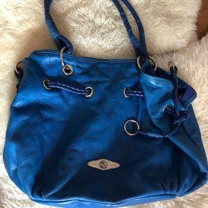 Elliot Lucca bright blue bag w/ braided straps